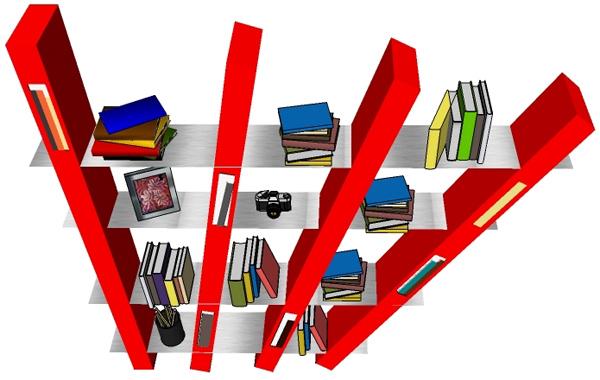 взгляд на книжные полки в